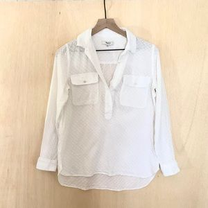 Madewell White Half Button-Down Shirt Size Small